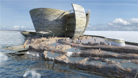 Artist's impression of the proposed visitor centre at the Tidal Lagoon Swansea Bay.