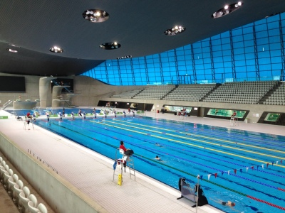 The competition swimming pools at Queen Elizabeth Olympic Park Aquatics Centre. Copyright Lara Tarasewicz