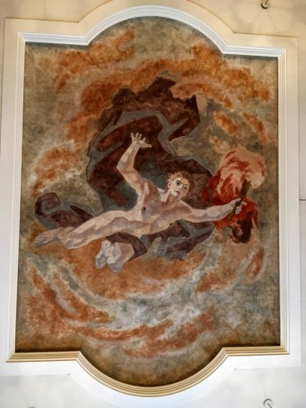 Prometheus stealing fire from the Gods, depicted on the ceiling above the workshop: an early mythical example of harnessing energy
