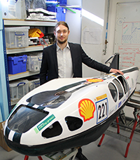 Oisin with ICHV01 the vehicle raced at the 2016 and 2017 Shell Eco-marathon events