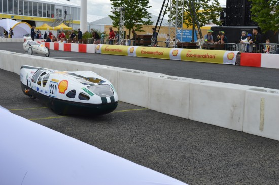 The Shell Eco-marathon car heading out on the track last year