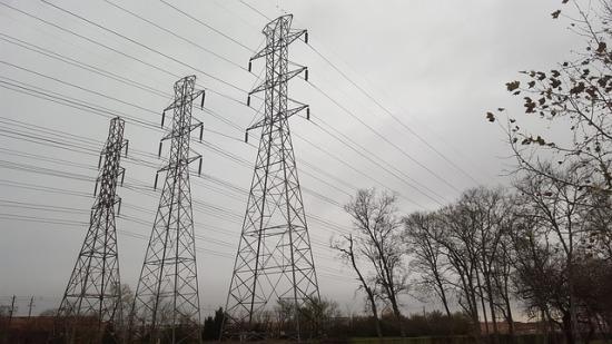Three electricity pylons