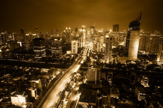 Caption: The Greater Jakarta metropolitan area in Indonesia, with over 30million inhabitants, is the second largest urban area in the world and the most populous city in Southeast Asia.