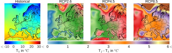 Spatial distributions of the 20 year average temperatures over the EURO-CORDEX domain extracted from the regional climate model HIRHAM5 downscaling the global climate model ICHEC-EC-EARTH. Historical period ranges between 1986-2006 and RCP periods ranges from 2080-2100.