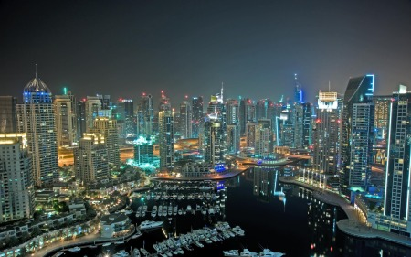 Dubai City Aerial view at night