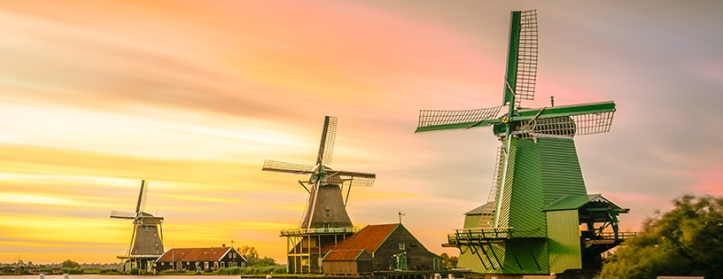 Dutch windmills at dusk