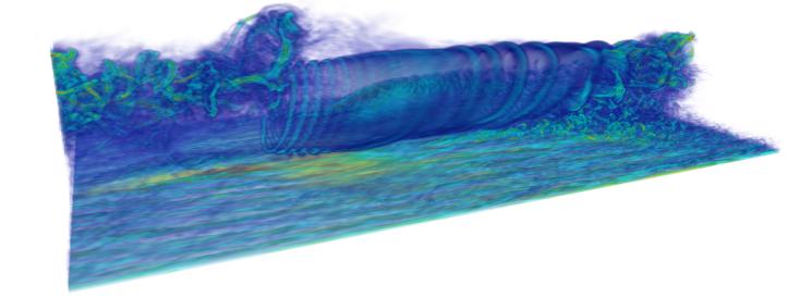 Figure 2 High-fidelity wake data generated using the state-of-the-art wind farm simulator WInc3D/Incompact3D (Unpublished data Deskos et. al.).