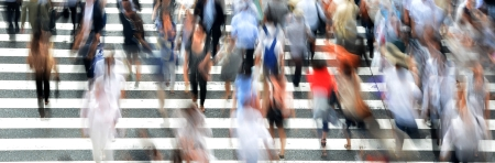 Busy pedestrian crossing