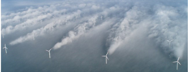 Aerial view of turbines showing air turbulence