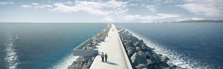 Artists impression of the Swansea Bay Tidal Lagoon