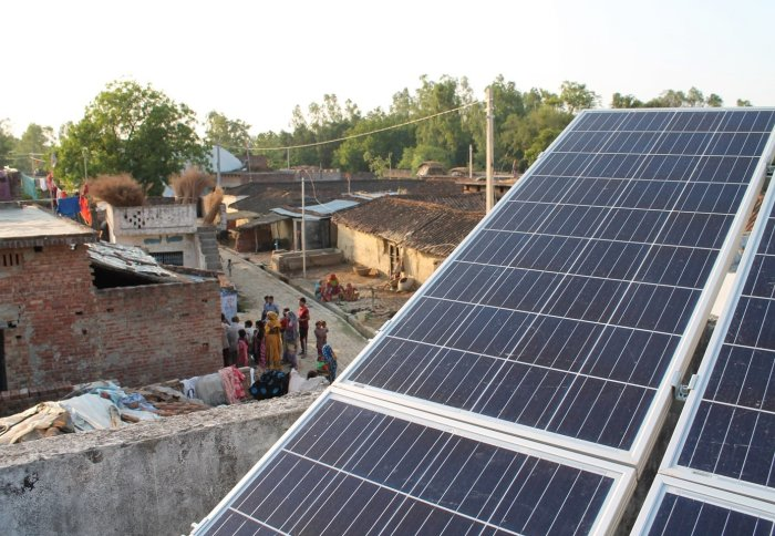 Solar panel in a rural village from an earlier project