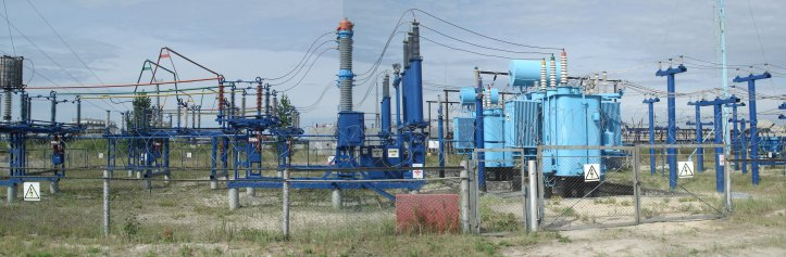 An example of substation used in conventional energy transmission, this is in Lyantor, Russia