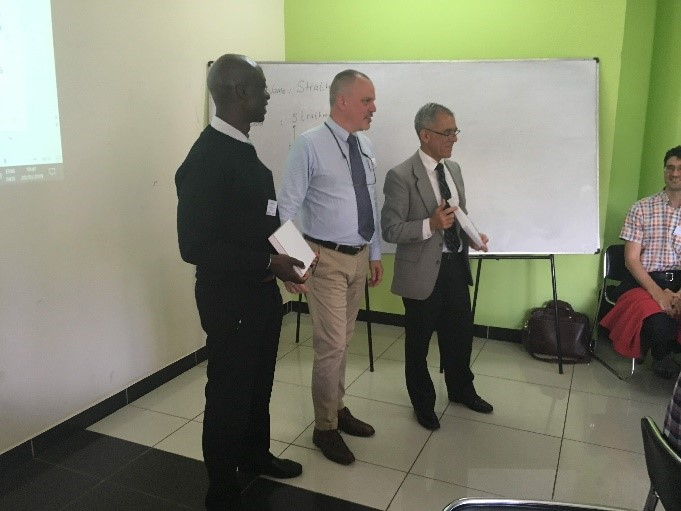 Dr Michael Wawire (JKUAT), Prof Tim Green (ICL) & Prof Izael Da Silva (Strathmore University) opening the workshop