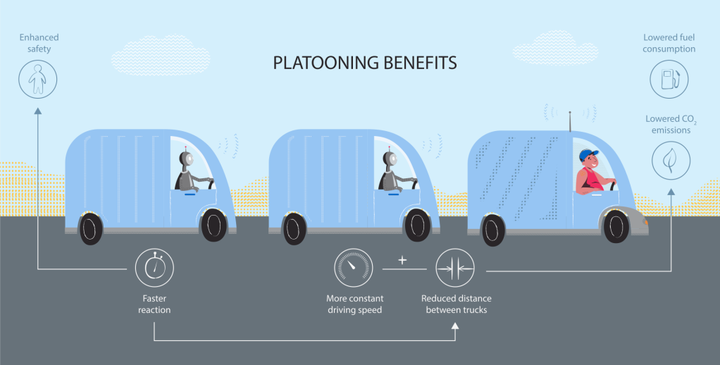 Graphic illustration of trucks driving in convoy